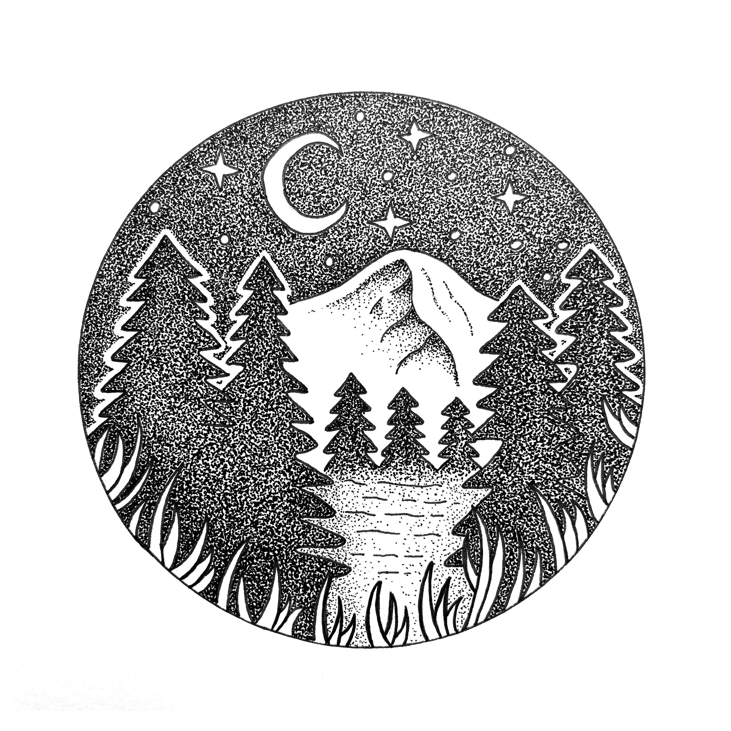 Night scene drawing